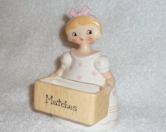 Vintage Pixieware Holt Howard M-G Dolly Girls Menschik Goldman Match Holder Pink Napco
