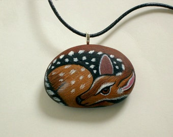 Miniature Deer-painted rock-Holiday gift under 60-fawn pendant necklace-gift for her-gift for him-unisex jewelry-wildlife art-autumn finds
