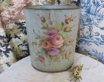 Vintage French Toleware Bin Trash Can / Beautiful Floral Hand Painted Decoration / Country Cottage Chic