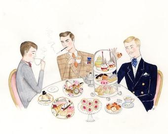 Gentlemen prefer scones 5x7 inch hand glittered greetings card