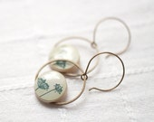 Natural History dangle earrings - Ivory earrings - Botanical earrings (E023)