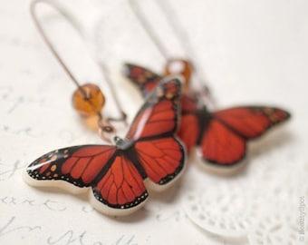 Red Butterfly earrings - Red butterfly wings (E059)