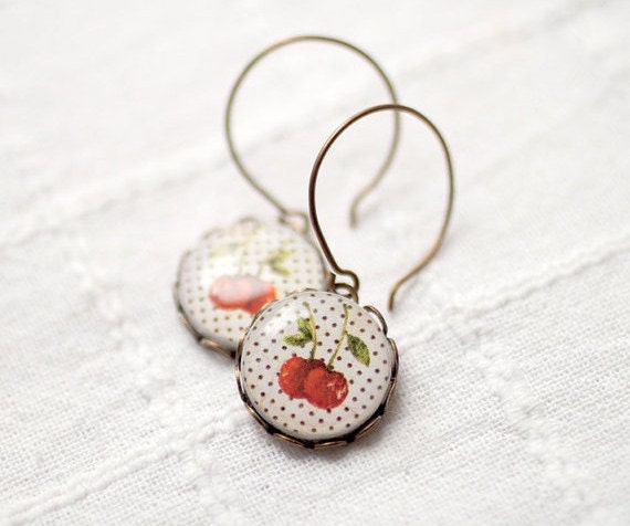 Cherry earrings - Polka Dot  (E020)