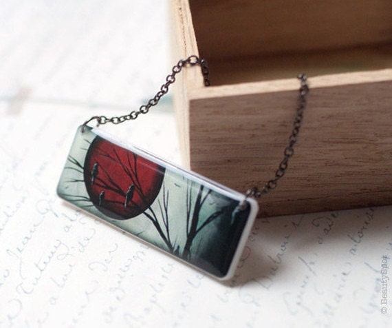 Red Moon necklace - Red and Black necklace - Full Moon necklace -  Red Moon pendant - Halloween jewelry  (N045)