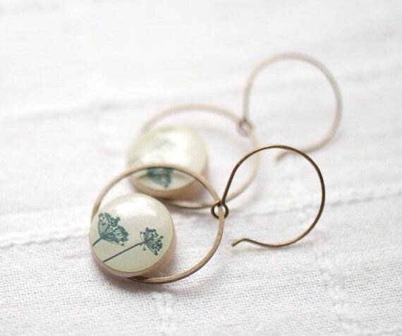 Natural History dangle earrings - Ivory earrings - Botanical earrings (E023)