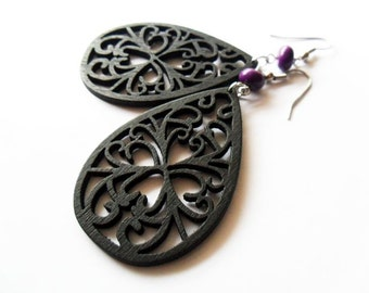 Black Filigree Wooden Earrings with Purple Stone Beads