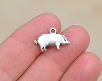5  Silver Pig Charms SC2739