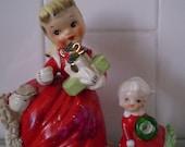 Vintage Set Of 2  NAPCO Christmas Girl With smaller Christmas girl
