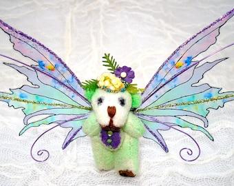 OOAK Miniature Handcrafted Winged Teddy Bear - Delphine