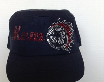 Soccer Mom with Flaming Soccer Ball Military Style Cap