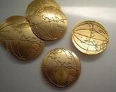 6 brass world globe charms, Eastern hemisphere