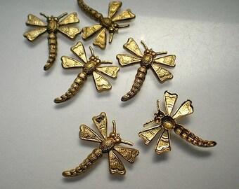 6 medium brass dragonfly charms