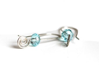 Silver Crystal Earrings, Turquoise Crystal Silver Earrings, Sterling Silver Turquoise Crystal Drop Earrings, Silver Spiral Earrings