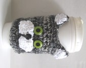 Coffee Cozy Sleeve Cat Tabby Gray Crocheted Stormy the Cat Travel Cup Included