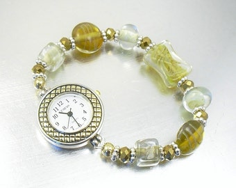 Topaz and Clear Glass Stretchy Bracelet Watch with Gold and Silver Accents