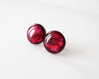 Blood red paua earrings.  Large paua shell earrings.  Stud post earrings.  Abalone earrings.  Paua jewelry.  Abalone jewelry.