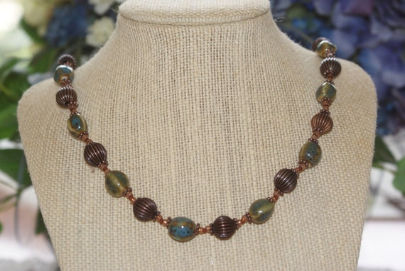 Ceramic and Copper Beaded Necklace