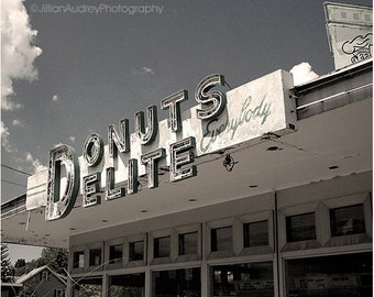 Rochester Photography, Black and White Photography, Architecture, Mid-century modern, Donuts Delite, Vintage Donut Shop, Retro, Kitchen Art