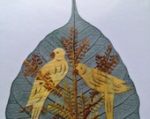 VALENTINE gift, handmade in USA collectible leaf art. No two leaves or leaf art alike. Value 20 dollars  at half price
