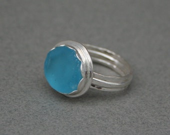 Sea Glass sterling silver ring. Turquoise sea glass statement ring.