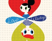 Love, Always - limited edition giclee print of an original illustration (8 x 10 in)