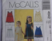McCalls 4042 Sewing Pattern Toddlers' Childrens' Girls' Dresses  Sizes  1, 2, 3