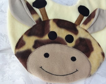 Giraffe Bib, Infant Baby Bib, Animal Reversible Fleece Bib, Animal Bib, Baby Shower Gift, Baby Bib, Newborn Gift, Newborn Toddler Bib