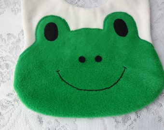 Frog Bib, Infant Baby Bib, Animal Reversible Fleece Bib, Animal Bib, Baby Shower Gift, Baby Bib, Newborn Gift, Newborn Toddler Bib