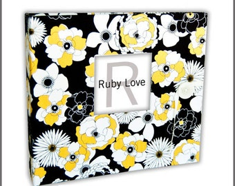BABY BOOK | Black and Yellow Peony Baby Book | Ruby Love Modern Baby Memory Book