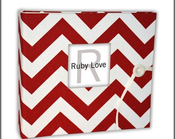 Red Chevron Stripe Baby Book | Ruby Love Modern Baby Memory Book