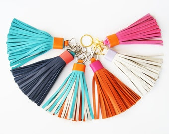 Leather tassel Keychain Bag charm Fringe keychain Bridesmaid Gift