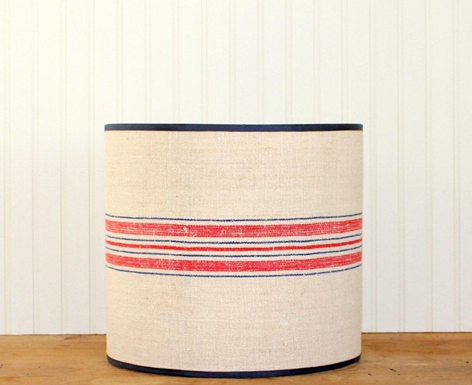 grain sack drum shade lampshade lamp shade by sassyshades. Black Bedroom Furniture Sets. Home Design Ideas