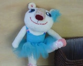 White Teddy Bear Ballerina - sweet  unique ooak  stuffed soft toy  with dress, toy for girl, rag doll