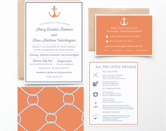 Salty Air Nautical Wedding Invitation Collection, Orange and Blue, Wedding Announcement