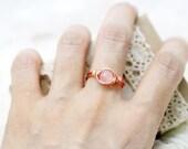 Peace and harmony - rose quartz wrapped ring (SR)