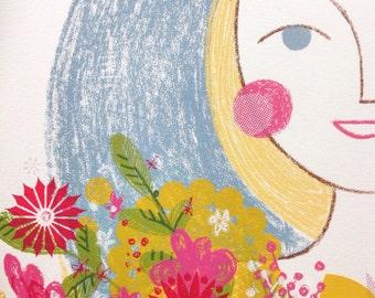 Skyla with flowers original screenprint