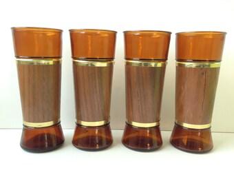 Brown Tiki Bar Glasses, Siesta Ware, Set of Four