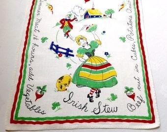 Vintage Linen Towel Irish Stew Recipe Retro Kitchen