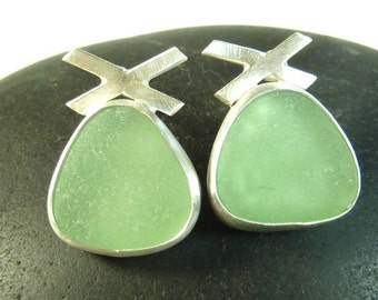 Soft Green Seaglass earrings