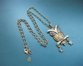 Vintage Signed Kirks Folly AB Aurora Borealis Multi Colored Glass Rhinestone Perched Owl Pendant Necklace