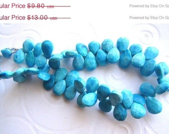35% OFF Natural Turquoise faceted pear briolette