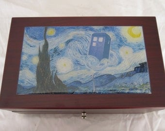 Van Gogh Starry Night and Tardis Full Size Jewelry Box with Mirror