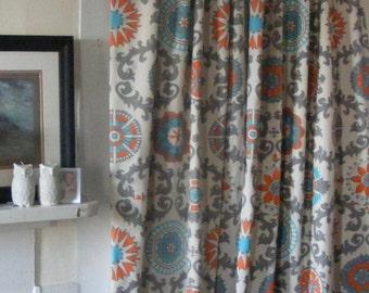 Grey And Orange Curtains Etsy Uk