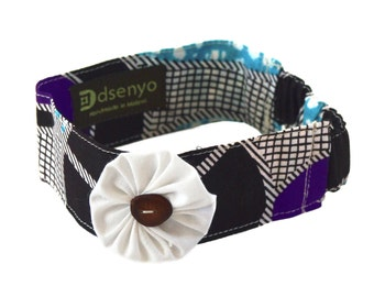 Aqua Purple Circles Baby Flower Headband / FREE SHIPPING / Fair Trade Made in Malawi from African Print Cotton Textile BFH-005