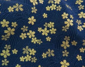 2610C - Gold Sakura Blossoms in Dark Navy , Gold Print Flower Fabric , Japanese Kimono Style
