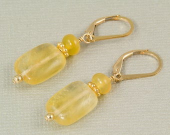 Yellow earrings, opal earrings, fluorite earrings,  yellow gemstone jewelry, October birthstone, summer jewelry