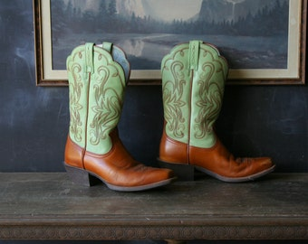Cowboy Boots Green And Tan Bohemian Square Toe Fabulous Western Boots For Women Vintage From Nowvintage on Etsy