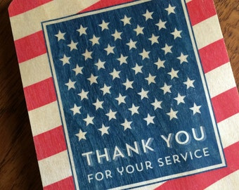 American Thank You Wood Card - Thank You for Your Service - Real Wood Card - Patriotic - Red, White and Blue - wc1363