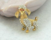 Vintage Signed A&S Gold Tone Clear Rhinestone Poodle Brooch