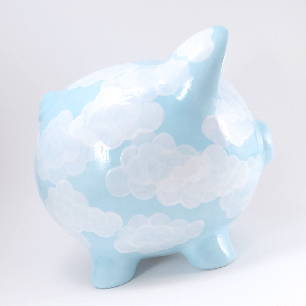 Pennies From Heaven Piggy Bank Light Blue Personalized Piggy